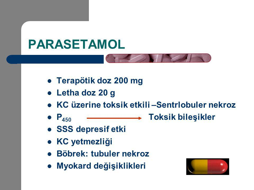 PARASETAMOL Terapötik doz 200 mg Letha doz 20 g