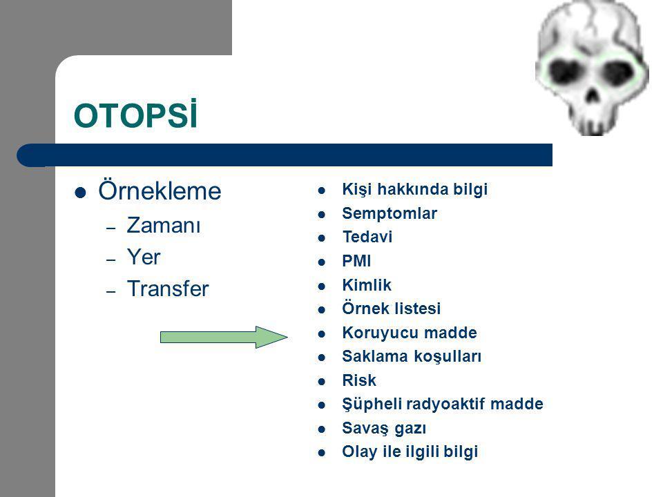 OTOPSİ Örnekleme Zamanı Yer Transfer Kişi hakkında bilgi Semptomlar