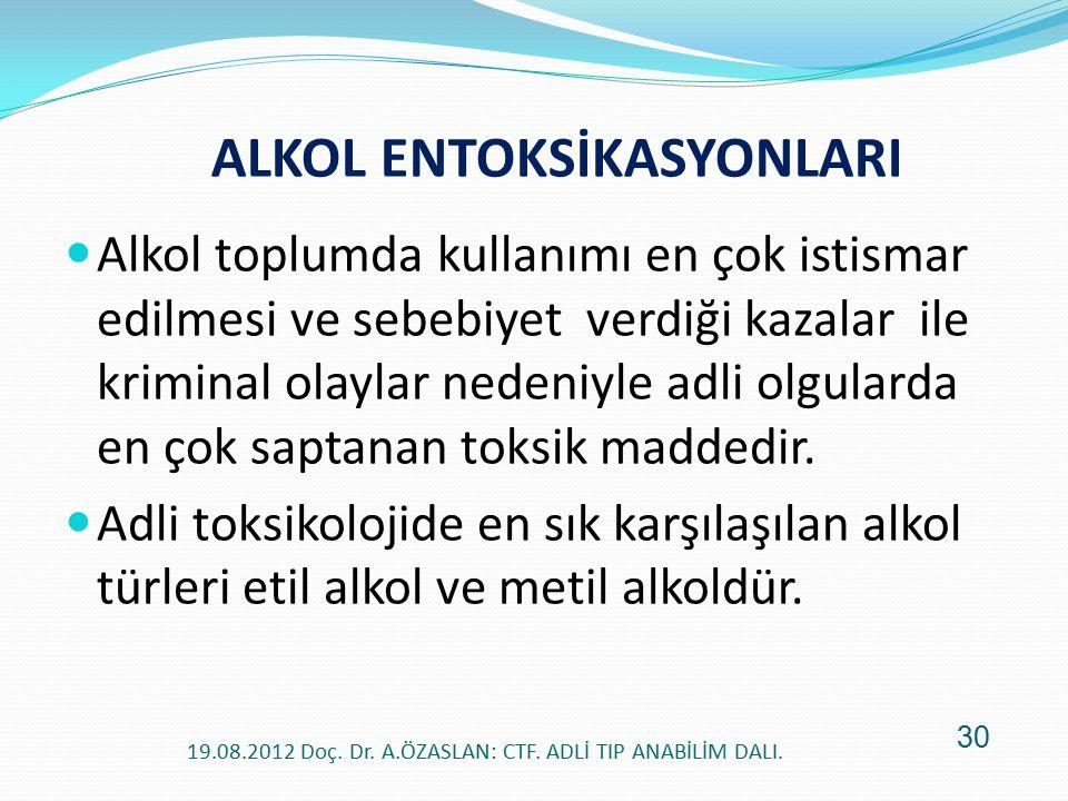 ALKOL ENTOKSİKASYONLARI