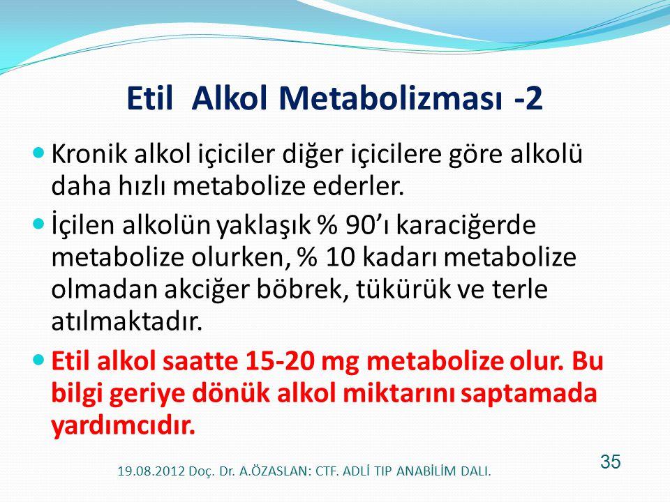 Etil Alkol Metabolizması -2