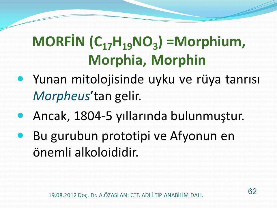 MORFİN (C17H19NO3) =Morphium, Morphia, Morphin