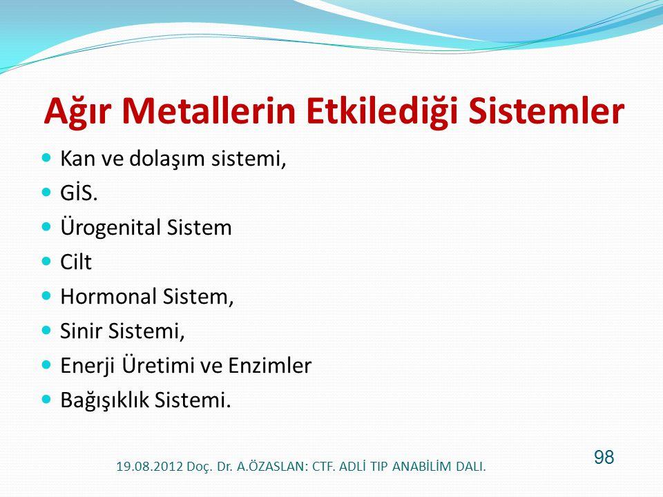 Ağır Metallerin Etkilediği Sistemler