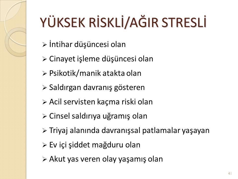 YÜKSEK RİSKLİ/AĞIR STRESLİ