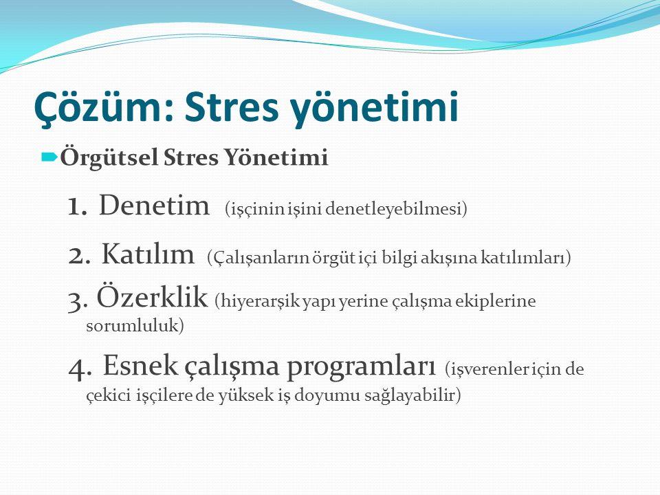 Çözüm: Stres yönetimi 1. Denetim (işçinin işini denetleyebilmesi)