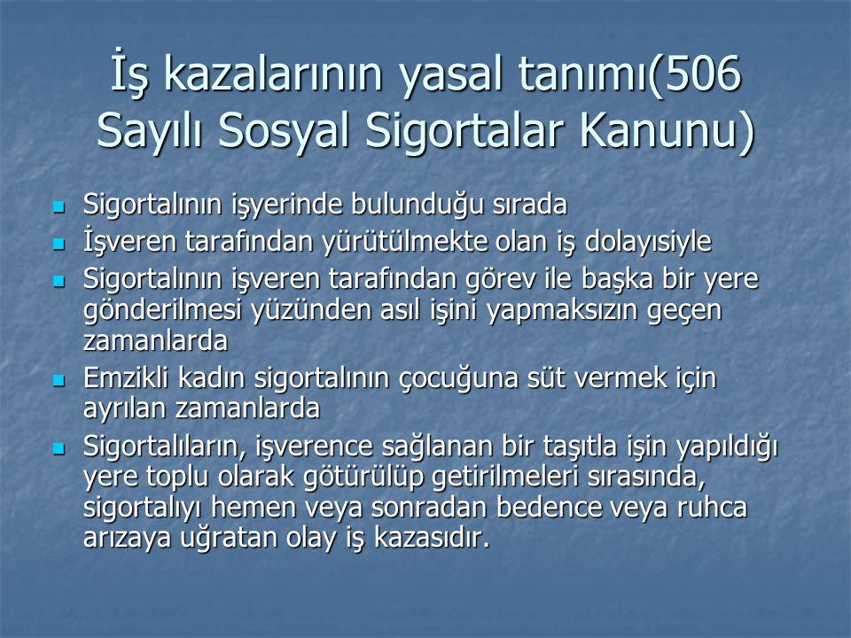 İş kazalarının yasal tanımı(506 Sayılı Sosyal Sigortalar Kanunu)