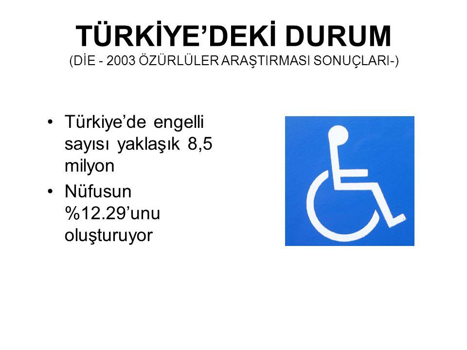 TÜRKİYE'DEKİ DURUM (DİE - 2003 ÖZÜRLÜLER ARAŞTIRMASI SONUÇLARI-)