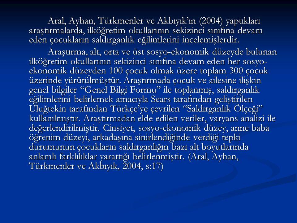 Aral, Ayhan, Türkmenler ve Akbıyık'ın (2004) yaptıkları araştırmalarda, ilköğretim okullarının sekizinci sınıfına devam eden çocukların saldırganlık eğilimlerini incelemişlerdir.