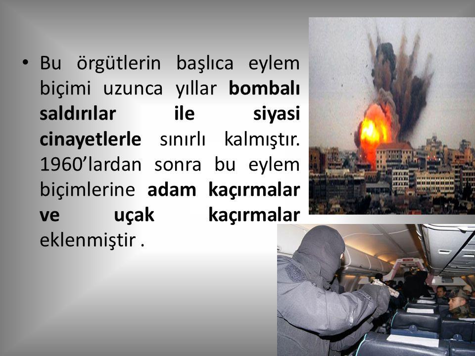 Bu örgütlerin başlıca eylem biçimi uzunca yıllar bombalı saldırılar ile siyasi cinayetlerle sınırlı kalmıştır.