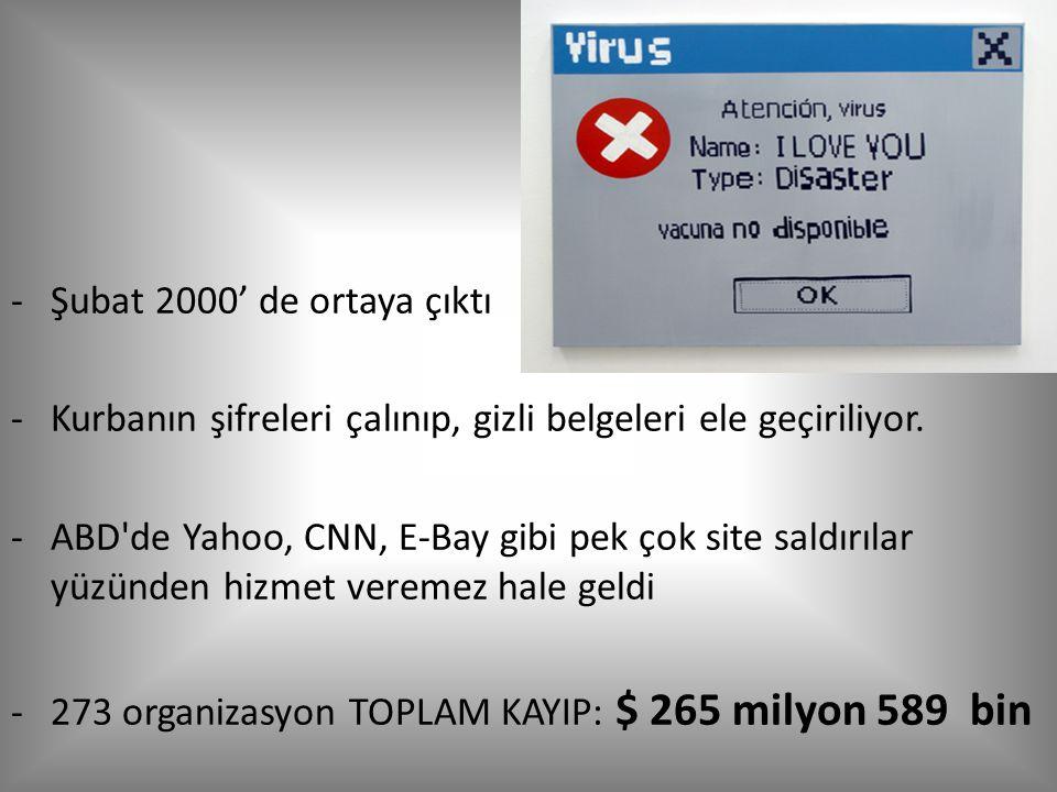 Şubat 2000' de ortaya çıktı Kurbanın şifreleri çalınıp, gizli belgeleri ele geçiriliyor.