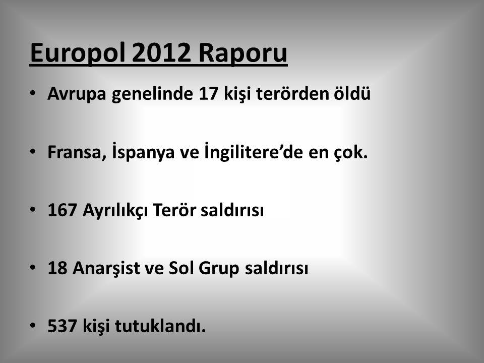 Europol 2012 Raporu Avrupa genelinde 17 kişi terörden öldü