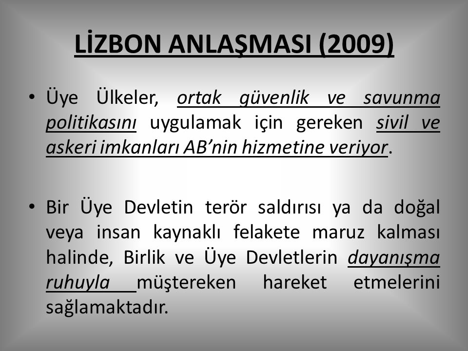 LİZBON ANLAŞMASI (2009)