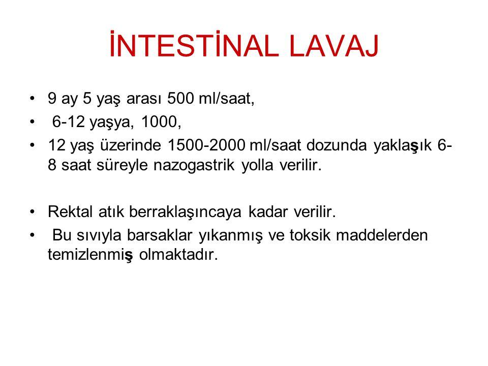 İNTESTİNAL LAVAJ 9 ay 5 yaş arası 500 ml/saat, 6-12 yaşya, 1000,