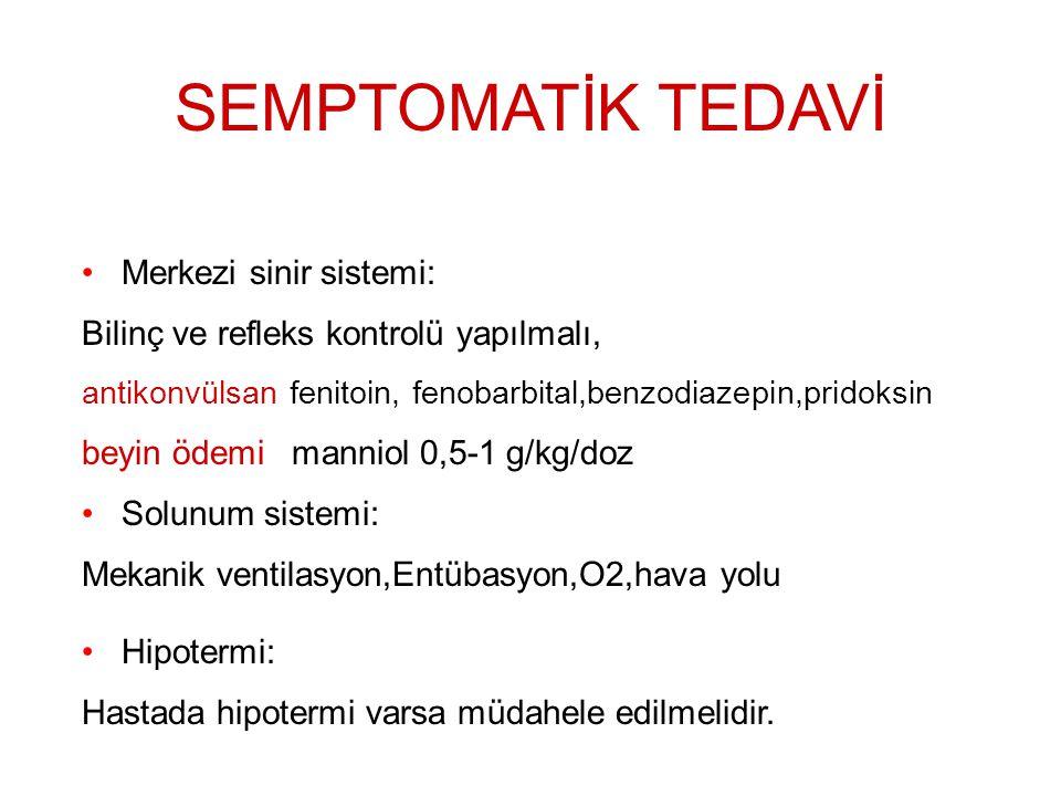 SEMPTOMATİK TEDAVİ Merkezi sinir sistemi:
