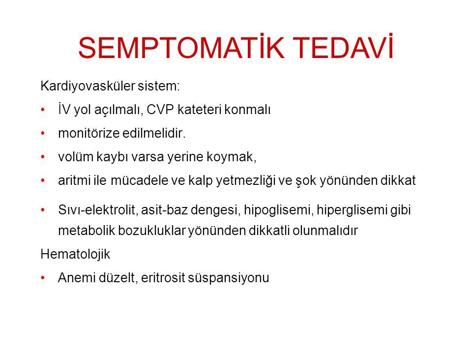 SEMPTOMATİK TEDAVİ Kardiyovasküler sistem: