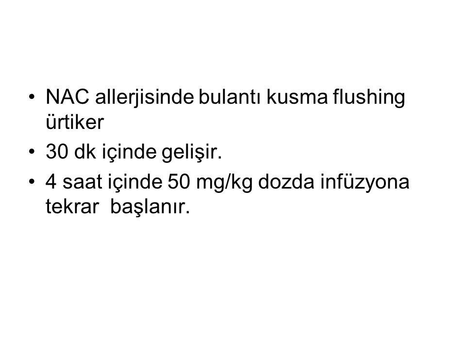 NAC allerjisinde bulantı kusma flushing ürtiker