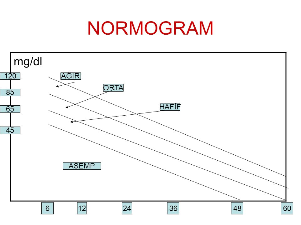 NORMOGRAM mg/dl 120 AĞIR ORTA 85 HAFİF 65 45 ASEMP 6 12 24 36 48 60