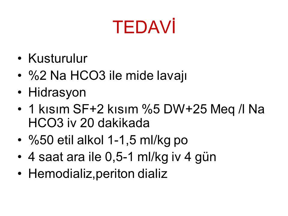 TEDAVİ Kusturulur %2 Na HCO3 ile mide lavajı Hidrasyon