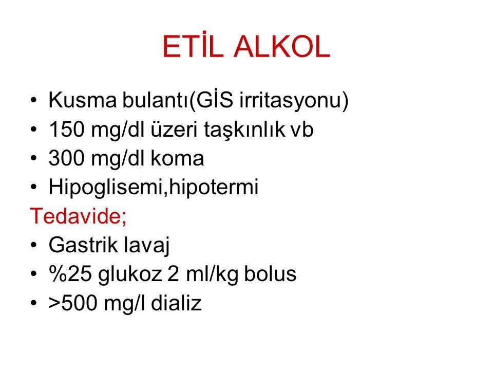 ETİL ALKOL Kusma bulantı(GİS irritasyonu) 150 mg/dl üzeri taşkınlık vb