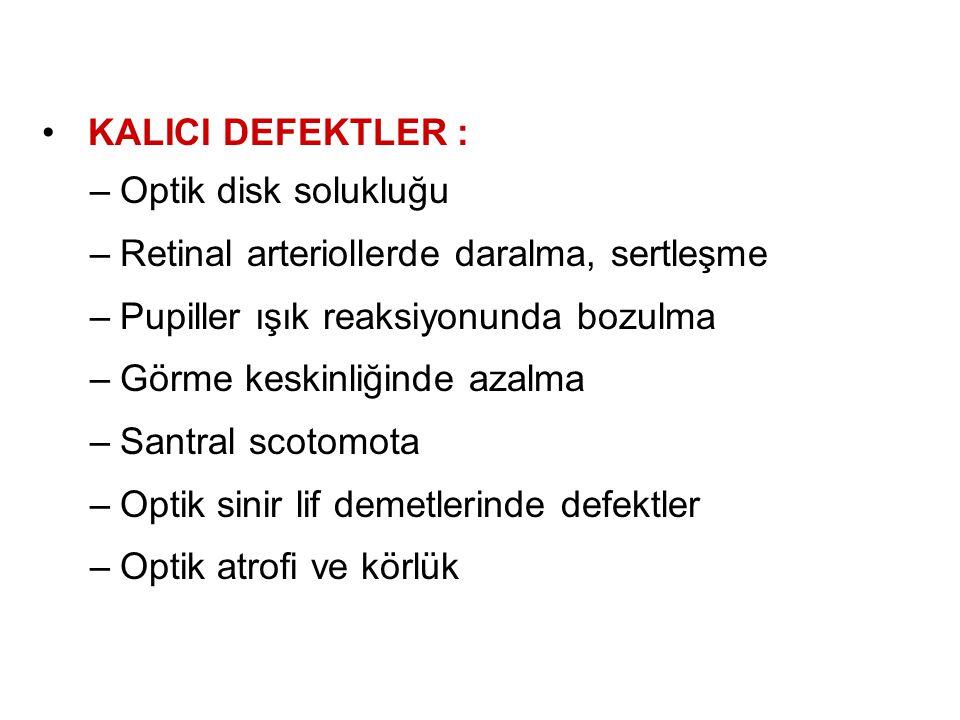 KALICI DEFEKTLER : Optik disk solukluğu. Retinal arteriollerde daralma, sertleşme. Pupiller ışık reaksiyonunda bozulma.
