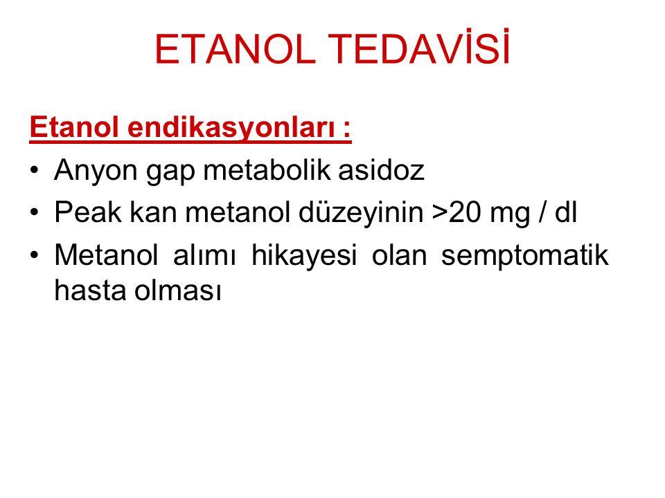 ETANOL TEDAVİSİ Etanol endikasyonları : Anyon gap metabolik asidoz