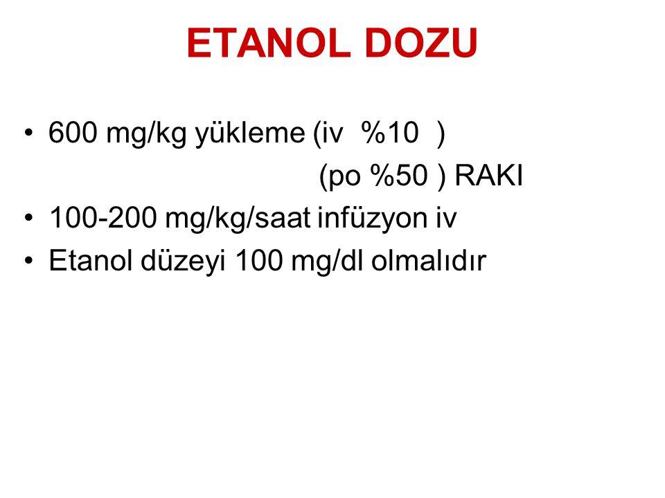 ETANOL DOZU 600 mg/kg yükleme (iv %10 ) (po %50 ) RAKI
