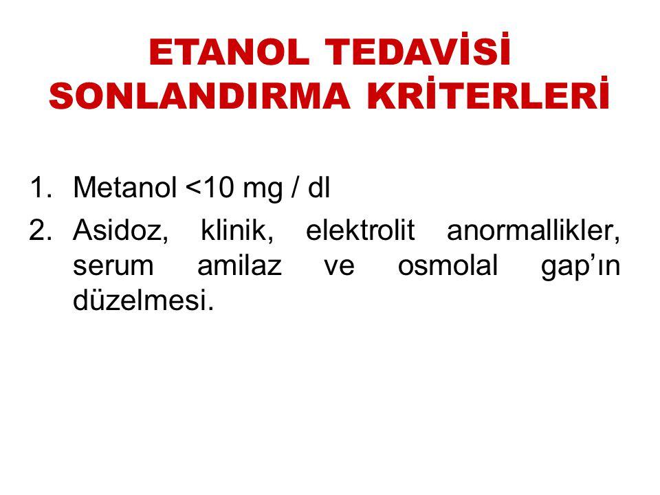ETANOL TEDAVİSİ SONLANDIRMA KRİTERLERİ