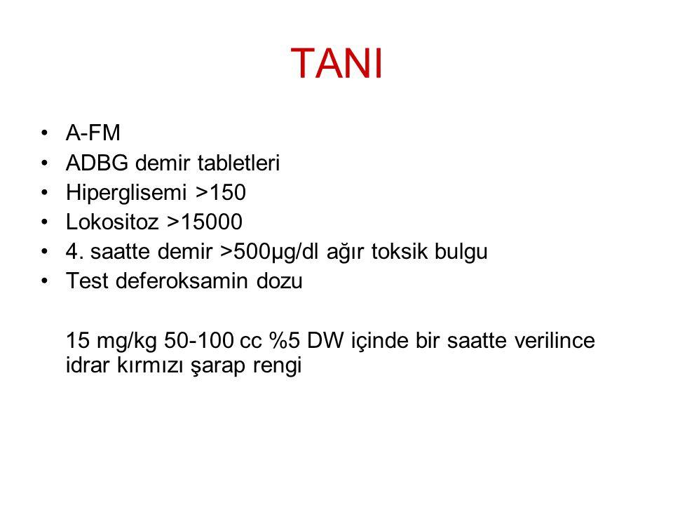 TANI A-FM ADBG demir tabletleri Hiperglisemi >150
