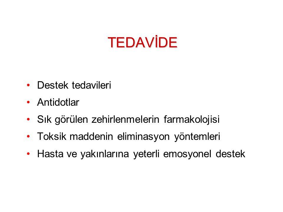 TEDAVİDE Destek tedavileri Antidotlar