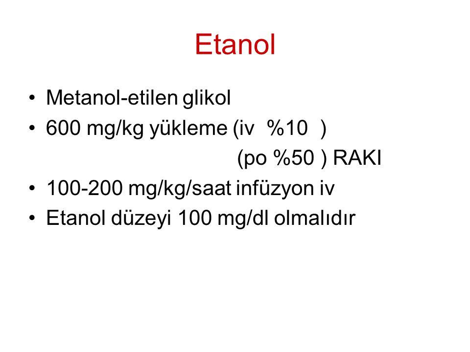 Etanol Metanol-etilen glikol 600 mg/kg yükleme (iv %10 )