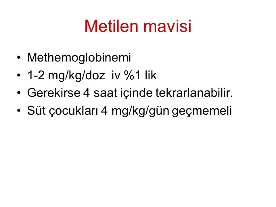 Metilen mavisi Methemoglobinemi 1-2 mg/kg/doz iv %1 lik