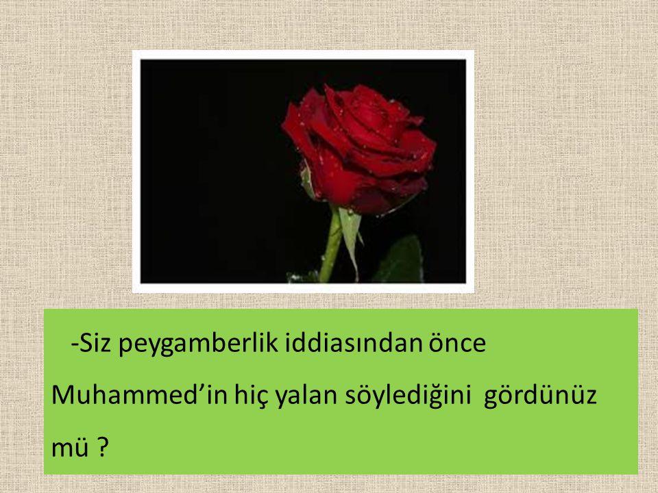 -Siz peygamberlik iddiasından önce Muhammed'in hiç yalan söylediğini gördünüz