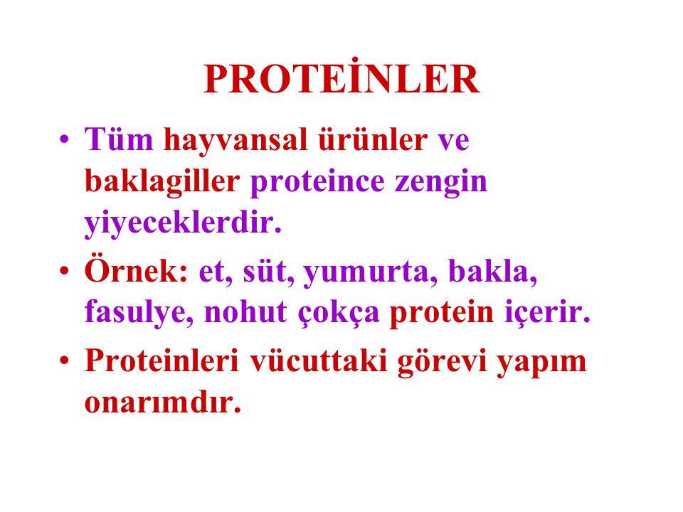 PROTEİNLER Tüm hayvansal ürünler ve baklagiller proteince zengin yiyeceklerdir. Örnek: et, süt, yumurta, bakla, fasulye, nohut çokça protein içerir.
