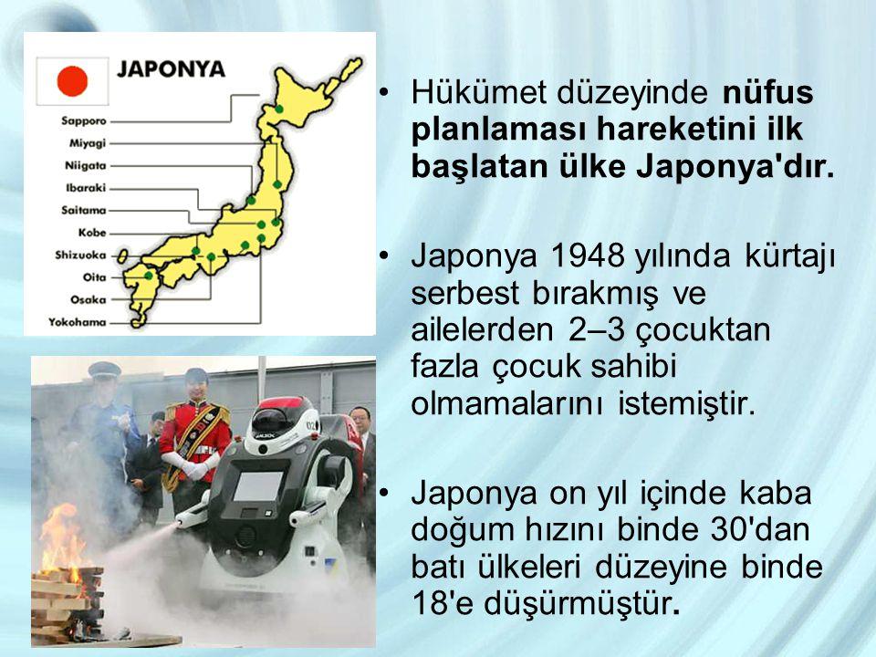 Hükümet düzeyinde nüfus planlaması hareketini ilk başlatan ülke Japonya dır.