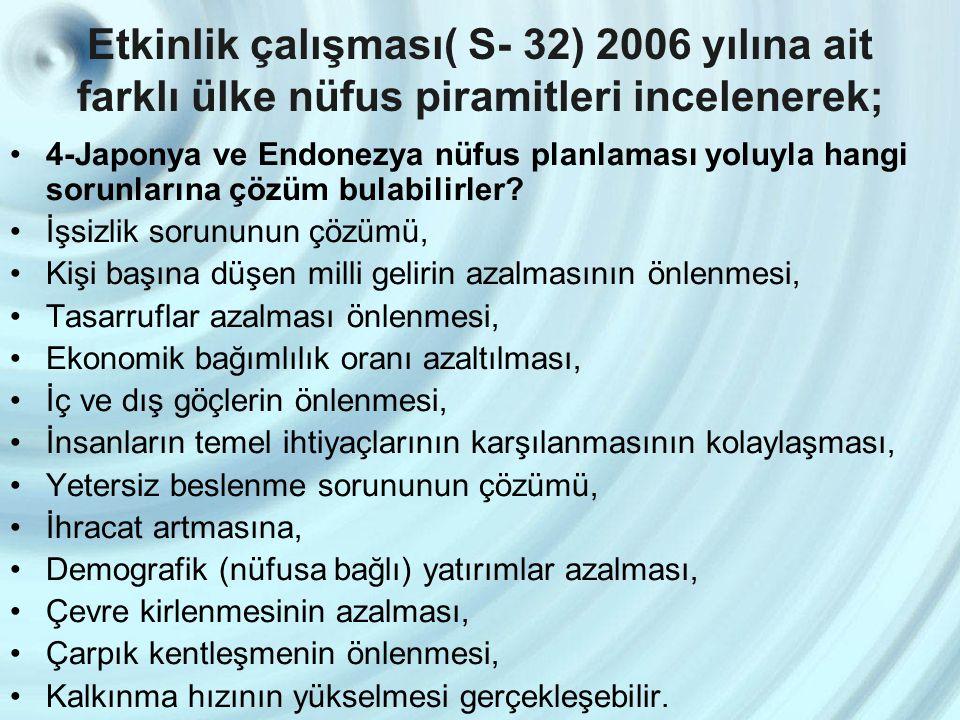 Etkinlik çalışması( S- 32) 2006 yılına ait farklı ülke nüfus piramitleri incelenerek;