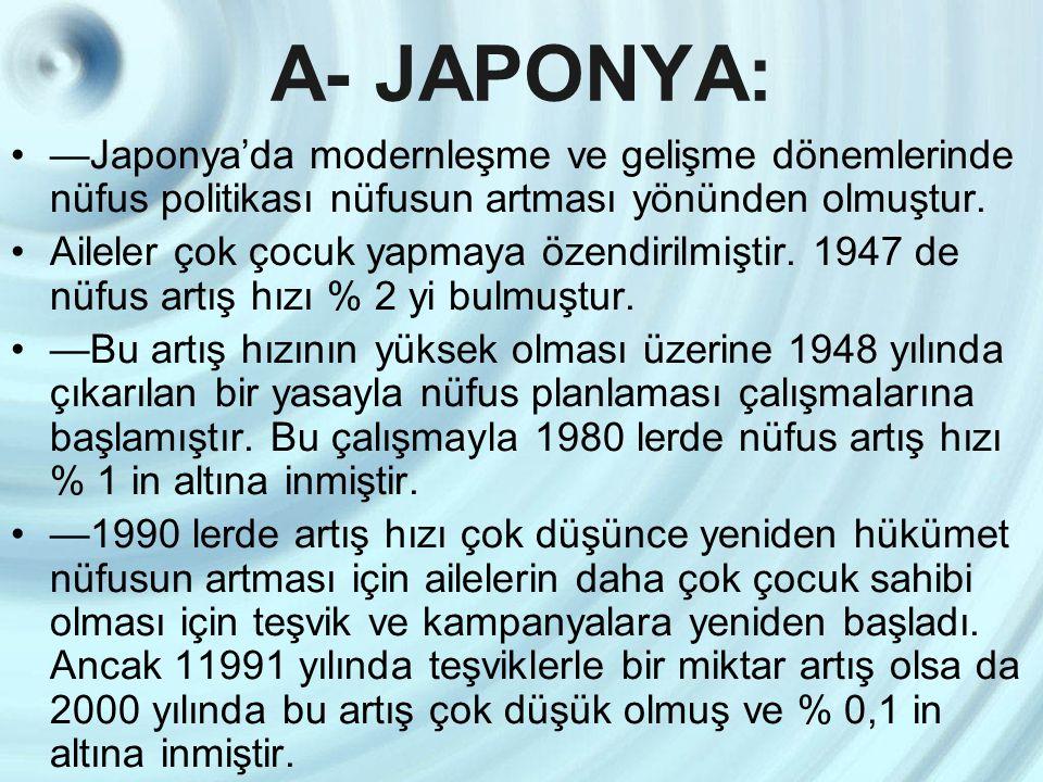 A- JAPONYA: —Japonya'da modernleşme ve gelişme dönemlerinde nüfus politikası nüfusun artması yönünden olmuştur.