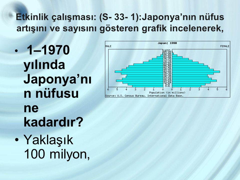 Yaklaşık 100 milyon, 1–1970 yılında Japonya'nın nüfusu ne kadardır