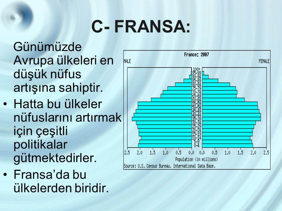 C- FRANSA: Günümüzde Avrupa ülkeleri en düşük nüfus artışına sahiptir.