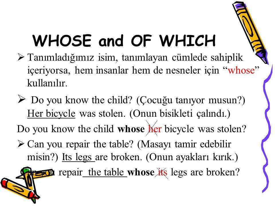 WHOSE and OF WHICH Tanımladığımız isim, tanımlayan cümlede sahiplik içeriyorsa, hem insanlar hem de nesneler için whose kullanılır.