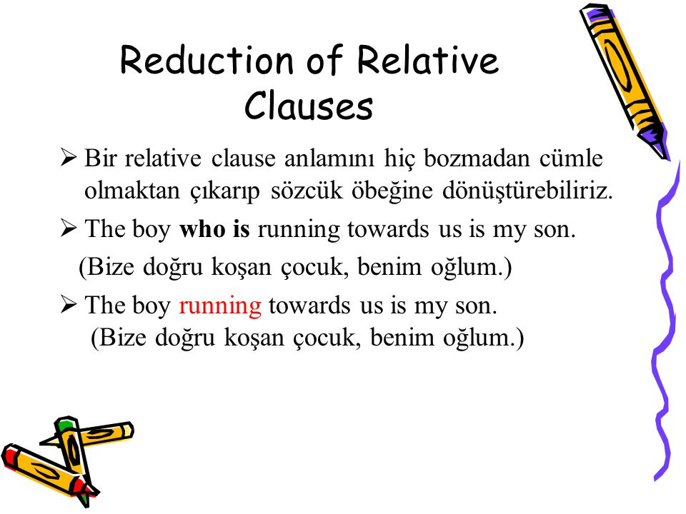 Reduction of Relative Clauses