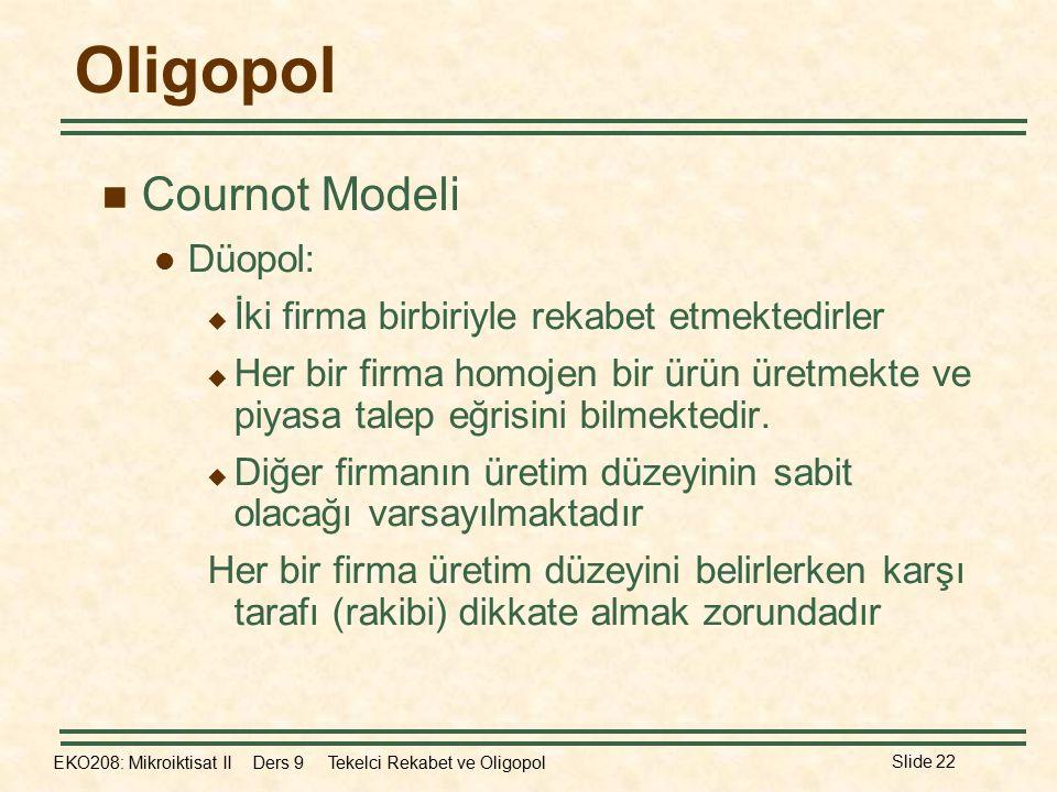 Oligopol Cournot Modeli Düopol: