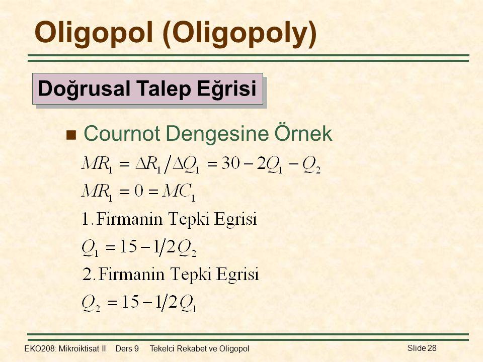 Oligopol (Oligopoly) Doğrusal Talep Eğrisi Cournot Dengesine Örnek