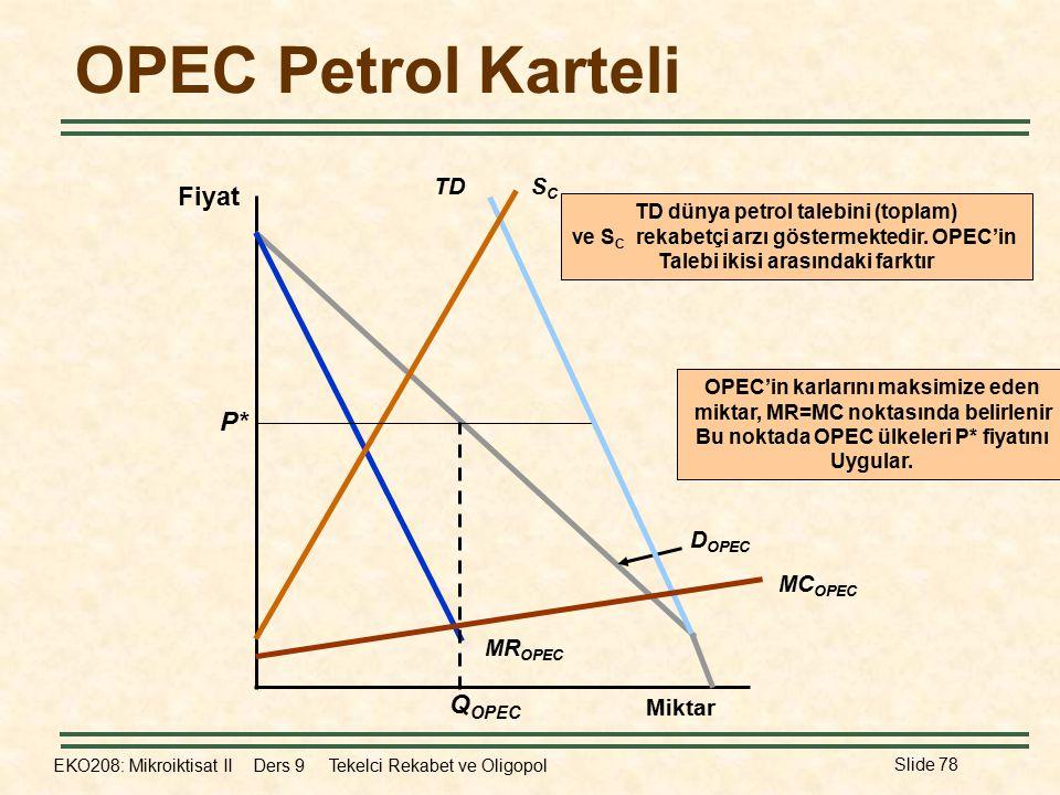 OPEC Petrol Karteli Fiyat P* QOPEC TD SC MCOPEC MROPEC DOPEC Miktar