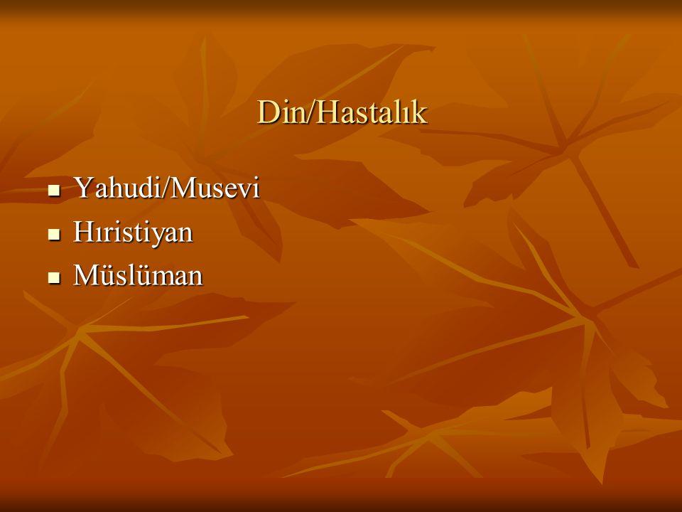 Din/Hastalık Yahudi/Musevi Hıristiyan Müslüman