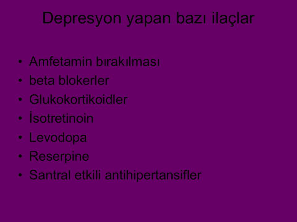 Depresyon yapan bazı ilaçlar