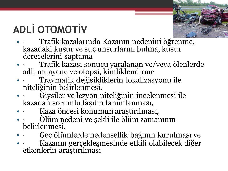 ADLİ OTOMOTİV · Trafik kazalarında Kazanın nedenini öğrenme, kazadaki kusur ve suç unsurlarını bulma, kusur derecelerini saptama.