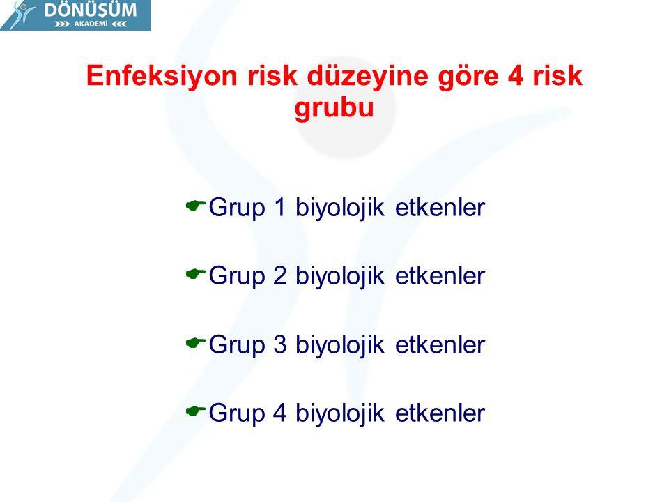 Enfeksiyon risk düzeyine göre 4 risk grubu