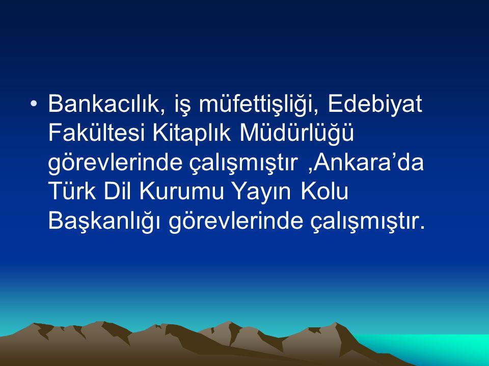 Bankacılık, iş müfettişliği, Edebiyat Fakültesi Kitaplık Müdürlüğü görevlerinde çalışmıştır ,Ankara'da Türk Dil Kurumu Yayın Kolu Başkanlığı görevlerinde çalışmıştır.