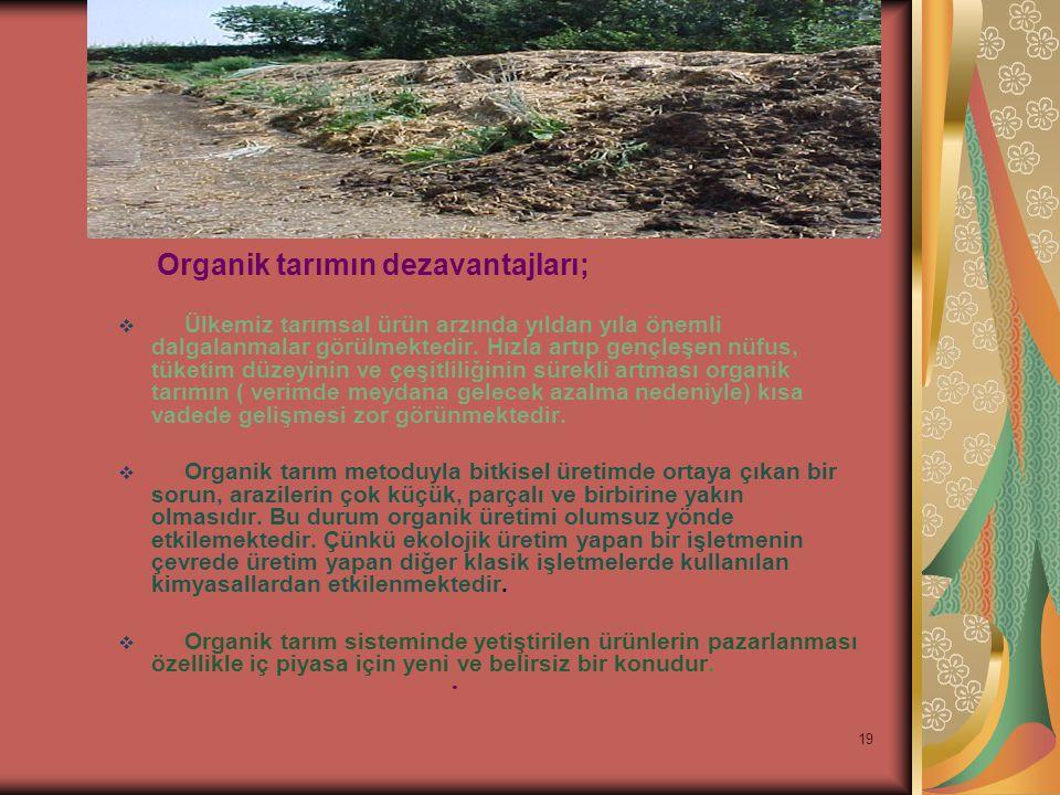 Organik tarımın dezavantajları;