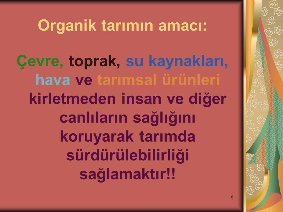 Organik tarımın amacı:
