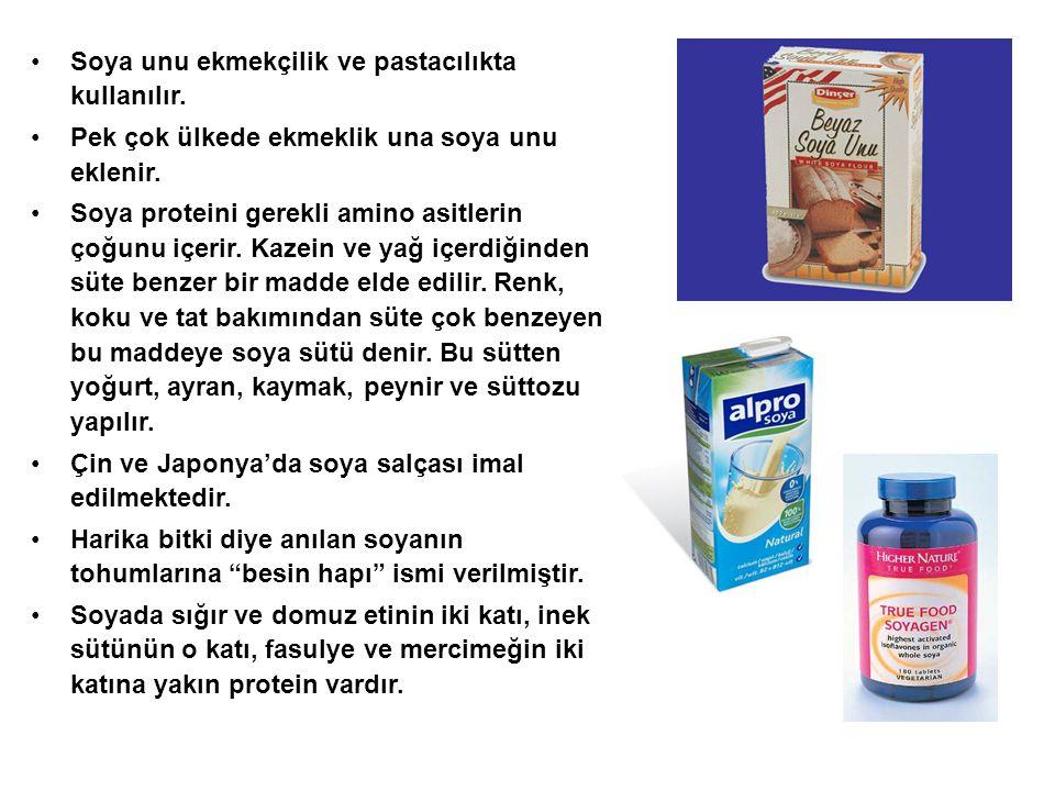 Soya unu ekmekçilik ve pastacılıkta kullanılır.